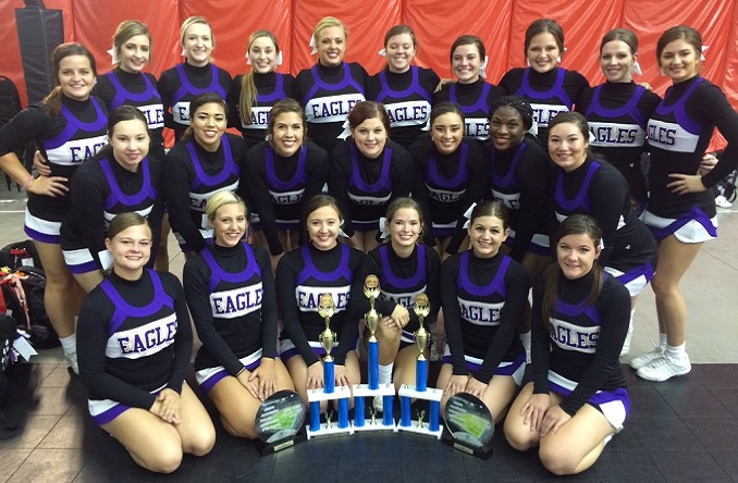 The Avila Cheer Team poses with their hardware from the Chula Vista UCA/UDA College Camp.