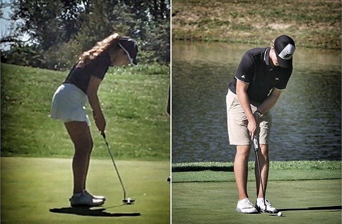Abby Clark (left) and Josh Berze (right) earned the highest individual finishes for AU at the CMU Eagle Open.