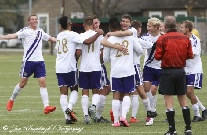 The Eagles celebrate after one of their season-high 4 goals on Sunday against Clarke.