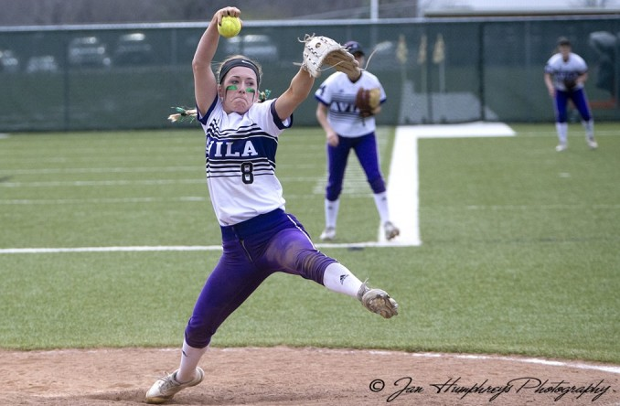 Abby King goes through her windup in Game 2 of Avila's sweep of MNU Friday (Photo Credit: Jan Humphreys)