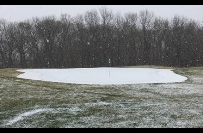 The snow began falling on Tuesday, forcing the cancellation of the final round. (Photo Credit: Katie Tooley)