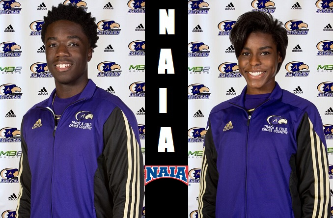 Jeremi Barnes (left) and Kayvona Bragg (right) competed at the NAIA Outdoor T&F Championships over the weekend.